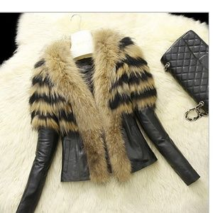 Jackets & Blazers - Faux leather and fur Jacket